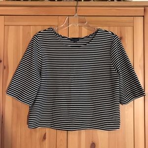 Black and white striped top large